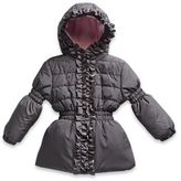 Pink Platinum Size 12M Puffer Jacket with Ruffle Trim in Grey