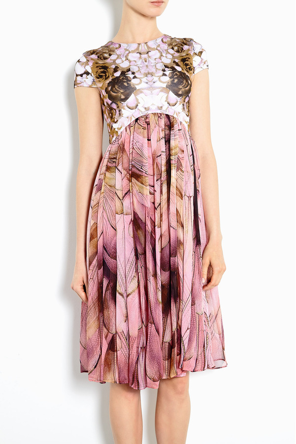 McQ Powder Silk And Jersey Cap Sleeve Empire Dress