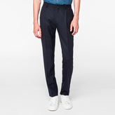 Paul Smith Men's Slim-Fit Navy Wool Pleated Trousers