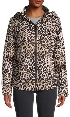 Andrew Marc Leopard-Print Hooded Rain Jacket