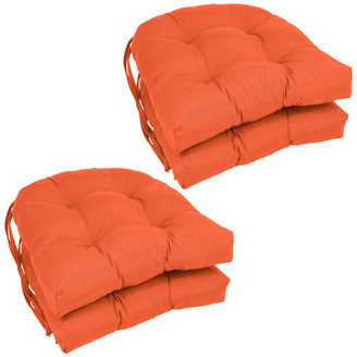 "Blazing Needles 16"" Solid Twill U-shaped Tufted Chair Cushions, Set of 4, Orange"