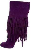 Casadei Fringe Suede Mid-Calf Boots