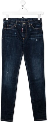 DSQUARED2 TEEN distressed slim-fit jeans