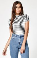 KENDALL + KYLIE Kendall & Kylie Stripe Short Sleeve Mock Neck Sweater
