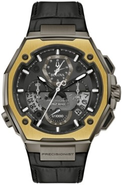 Bulova Men's Precisionist Black Leather Strap Watch 44.7mm - A Limited Edition