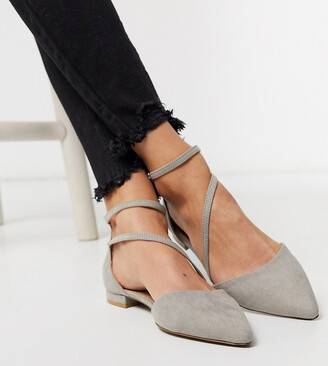 Asos DESIGN Wide Fit Lifetime pointed ballet flats in grey