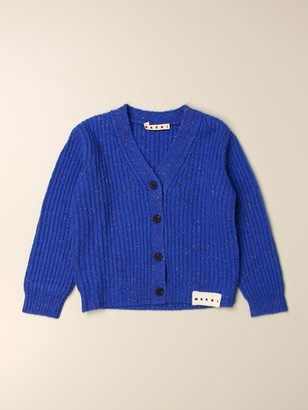 Marni V-shaped Cardigan In Lurex Wool Blend