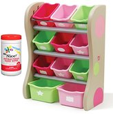 Step2 NEW! Fun Time Room Organizer Bins, Pink with Antibacterial Hand Wipes