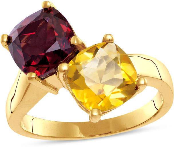 Zales 8.0mm Cushion-Cut Garnet and Citrine Bypass Ring in 10K Gold