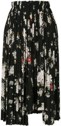 No.21 Floral-Print Pleated Midi-Skirt