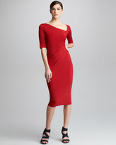 Donna Karan Half-Sleeve Draped Jersey Dress
