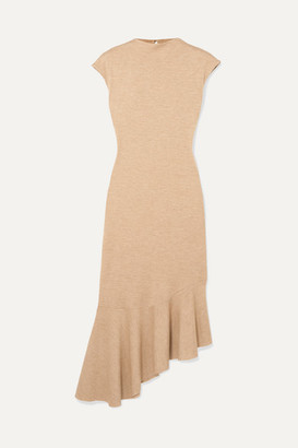 AAIZÉL + Net Sustain Asymmetric Ruffled Melange Jersey Midi Dress - Sand