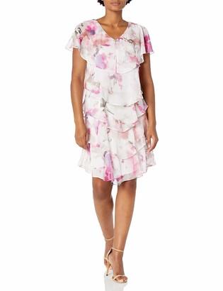 SL Fashions Women's Pebble Tier Dress Regular Sizes
