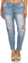 Light Blue Ripped-Knee Jeans - Plus