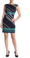 London Times Striped Cap Sleeve Shift Dress