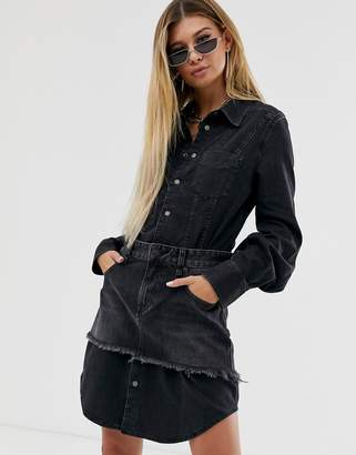 Diesel denim shirt dress with skirt overlay-Black