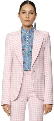 Paco Rabanne CHECKED WOOL GABARDINE BLAZER JACKET