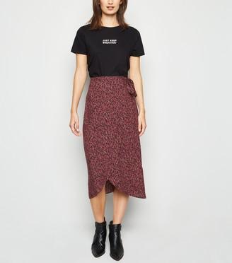New Look Abstract Spot Wrap Midi Skirt