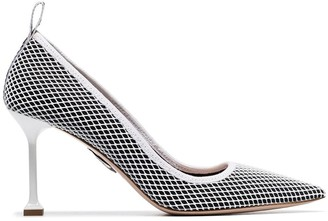Miu Miu black and white 85 fishnet-covered leather pumps