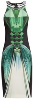 Mary Katrantzou Lalic Perfume-print Crepe Midi Dress - Womens - Green Multi