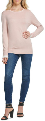 DKNY Long Sleeve Crew With Layered Cuff