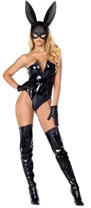 Forplay Women's Breathtaking Bunny V Wire Vinyl Bodysuit Mask and Gloves