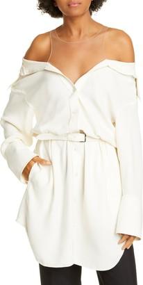 Alexander Wang Illusion Cold Shoulder Silk Shirtdress