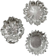Uttermost Set Of 3 Silver Flowers Wall Art