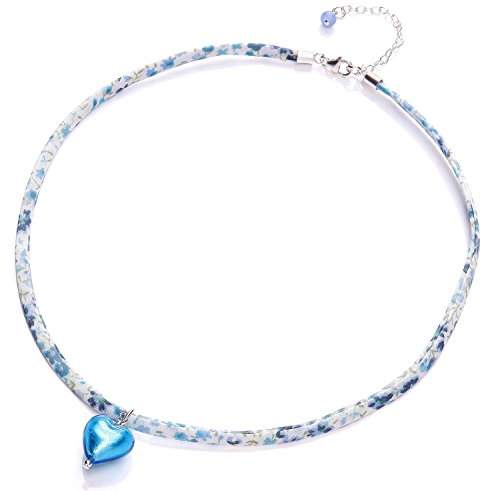 Glass Heart Amanti Venezia Liberty Ribbon and Sterling Silver Necklace with Aqua Murano of Length 39-45 cm