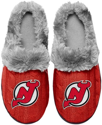 Women's New Jersey Devils Cable Knit Slide Slippers