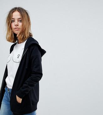 ASOS DESIGN Petite zip through hoodie in black