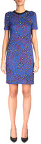 Carven Short-Sleeve Printed T-Shirt Dress, Violet/Blue