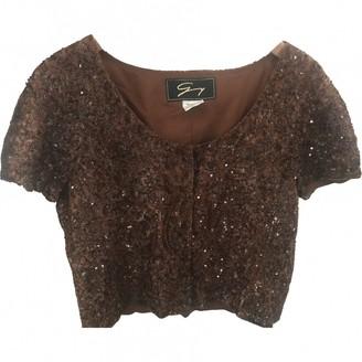 Genny Brown Glitter Top for Women Vintage
