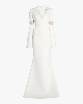 Badgley Mischka Long Sleeve Beaded Gown