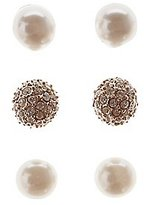 Charlotte Russe Faux Pearl & Rhinestone Stud Earrings - 3 Pack
