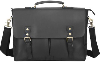 Touri Worn Look Leather Laptop Bag In Black