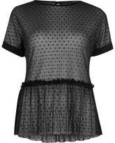 River Island Womens Black polka dot mesh frill top
