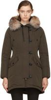 Moncler Green Down & Fur Arehdel Coat