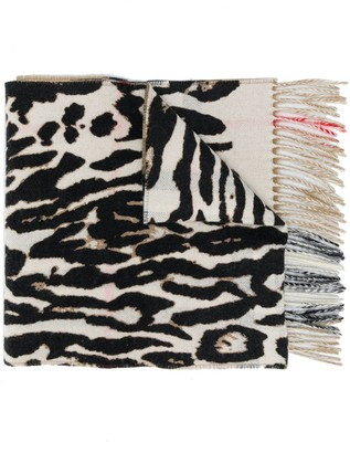 Burberry Animal Print Cashmere Scarf