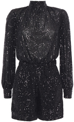 Maje Open-back Sequined Stretch-tulle Playsuit