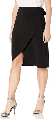 Star Vixen Women's Petite Knee Length Sidetie Faux Wrap Skirt
