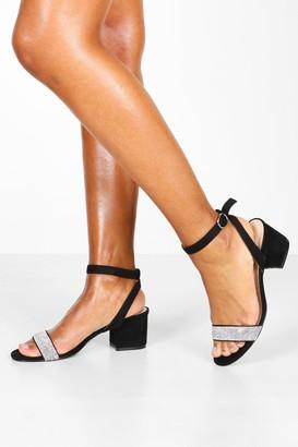 boohoo Embellished Block 2 Part Heels