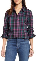 1901 Plaid Cotton Blend Button-Up Blouse