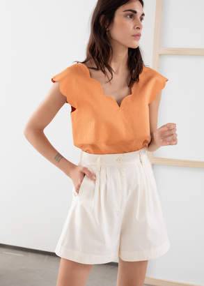 And other stories Linen Blend Scalloped Tank Top