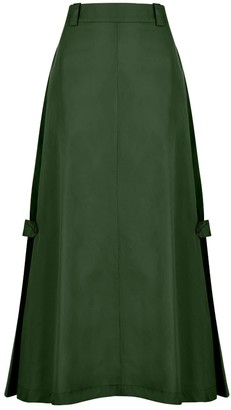 A Line Clothing Green Button Flap A-Line Skirt