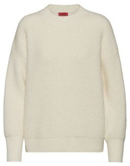 HUGO BOSS Dropped Shoulder Sweater With Dipped Back Hem - Natural