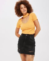 Topshop MOTO Ripped Denim Mini Skirt