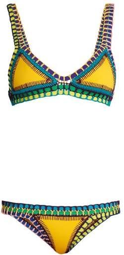 Kiini Ro Crochet Trimmed Triangle Bikini - Womens - Yellow Multi