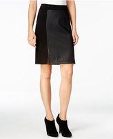 Kensie Faux-Leather Ponte Skirt