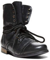 Black Leather Boots With Blue Zipper - ShopStyle